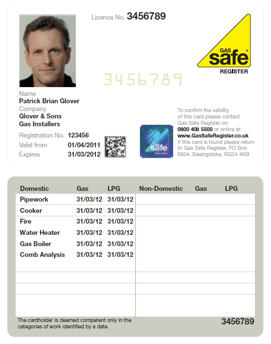 Gas safe register card